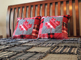 "Canadian Maple Leaf Pillow, Handmade Cotton Flannel Accent Pillow, Quilted and Appliqued Pillow, 22"" x 22"""