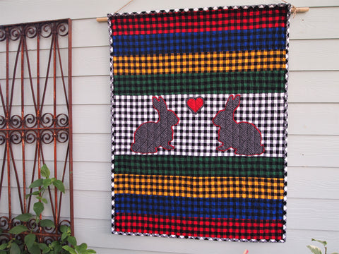 "Rabbit Applique Baby Quilt, Handmade Cotton Flannel Quilt, Bright Multicolor Check Fabrics, 42"" x 54"""