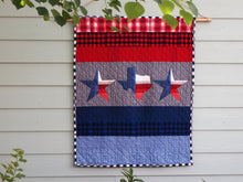 "Texas Star Applique Quilt, Handmade Cotton Flannel Quilt, Multicolor, Striped, Wallhanging or Baby Quilt Size, 40"" x 50"""