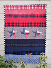 "Texas Star Applique Quilt, Handmade Cotton Flannel Quilt, Striped, Throw Size, 50"" x 70"""