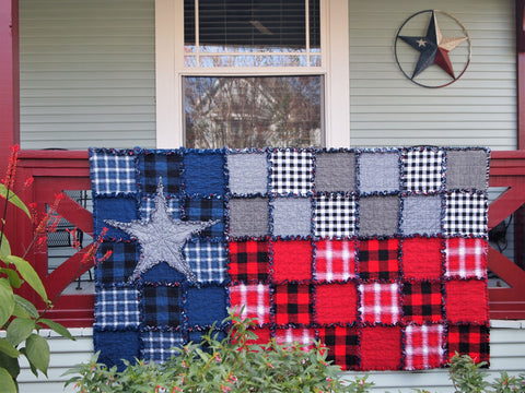 "Texas Flag Rag Quilt, Handmade Cotton Flannel Quilt, Throw Size, 50"" x 74"""
