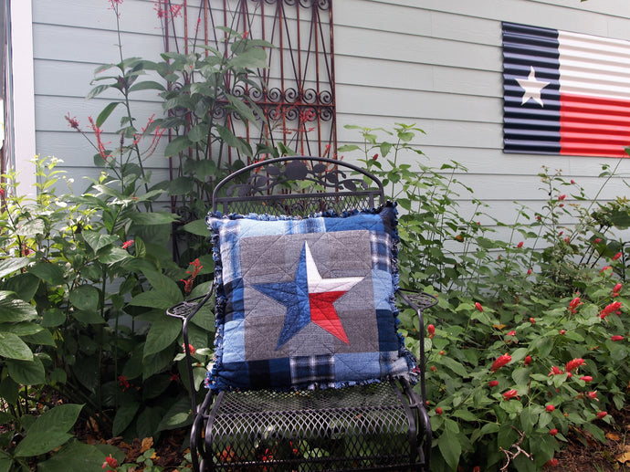 Texas Star Pillow, Handmade Cotton Flannel Accent Pillow, Quilted and Appliqued Pillow, 22