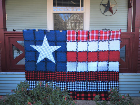 "American Flag Rag Quilt, Handmade Cotton Flannel Quilt, Throw Size, 58"" x 74"""