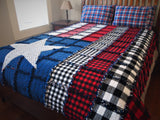 "American Flag Rag Quilt, Handmade Cotton Flannel Quilt, Twin Size, 75"" x 92"""