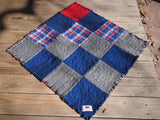 "Small Americana Dog or Cat Quilted Blanket, Rag Quilt Style, Handmade Cotton Flannel Quilt, 34"" x 34"""