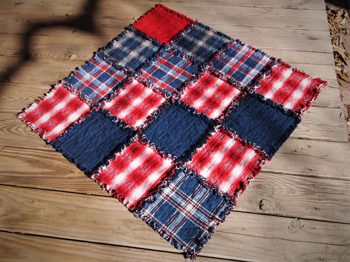 Americana Dog or Cat Quilted Blanket, Rag Quilt Style, Handmade Cotton Flannel Quilt, Small Size, 34