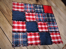 "Americana Dog or Cat Quilted Blanket, Rag Quilt Style, Handmade Cotton Flannel Quilt, Small Size, 34"" x 34"""
