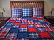 "Americana Rag Quilt, Diagonal Set, Handmade Cotton Flannel Quilt, Twin or Large Throw Size, 75"" x 92"""