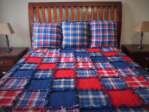 Americana Rag Quilt, Diagonal Set, Handmade Cotton Flannel Quilt, Twin or Large Throw Size, 75