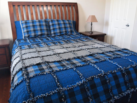 "Blue Ombre Rag Quilt, Handmade Cotton Flannel Quilt, Twin Size, 75"" x 92"""
