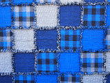 "Blue Rag Quilt, Handmade Cotton Flannel Quilt, Throw Size, 58"" x 74"""