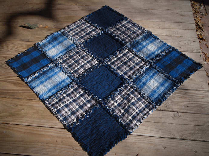 Blue Dog or Cat Quilted Blanket, Rag Quilt Style, Handmade Cotton Flannel Quilt, Small Size, 34