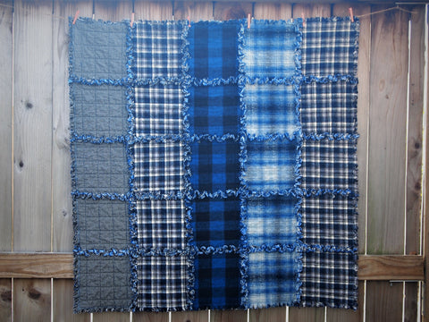 "Medium Dog Quilted Blanket, Rag Quilt Style, Handmade Cotton Flannel Quilt, Blue Striped Pattern, 42"" x 42"""