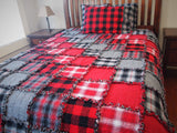 "Red Rag Quilt, Handmade Cotton Flannel Quilt, Twin Size, 75"" x 92"""