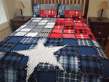 "Texas Flag Rag Quilt, Handmade Cotton Flannel Quilt, Twin XL Size, 68"" x 102"""