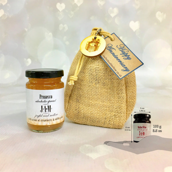 Gift Bag of 1 Alcoholic Jam - Sloe Gin Jam, Spreadable Gin, Prosecco Jam and more.