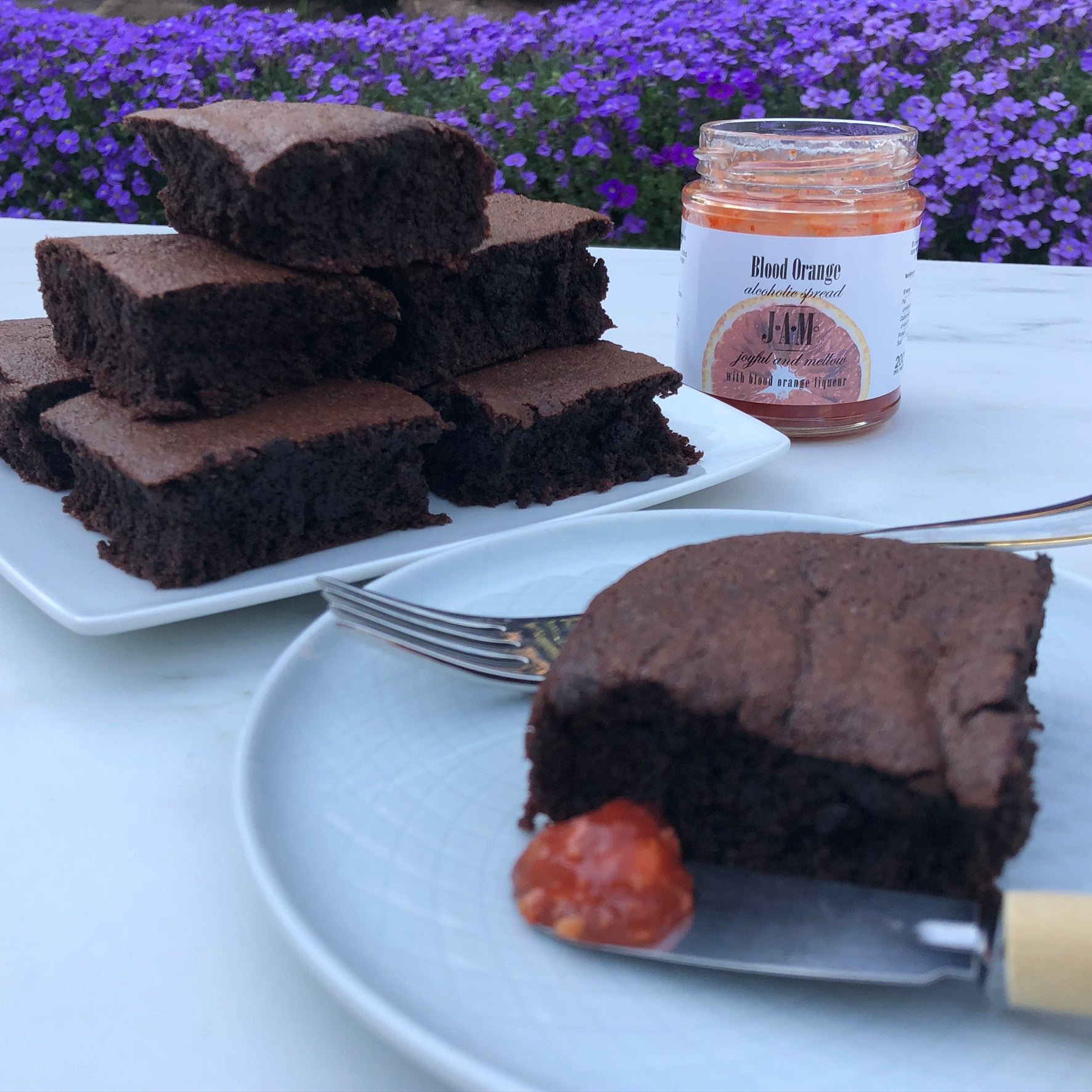 Blood Orange Liqueur Jam with Brownies