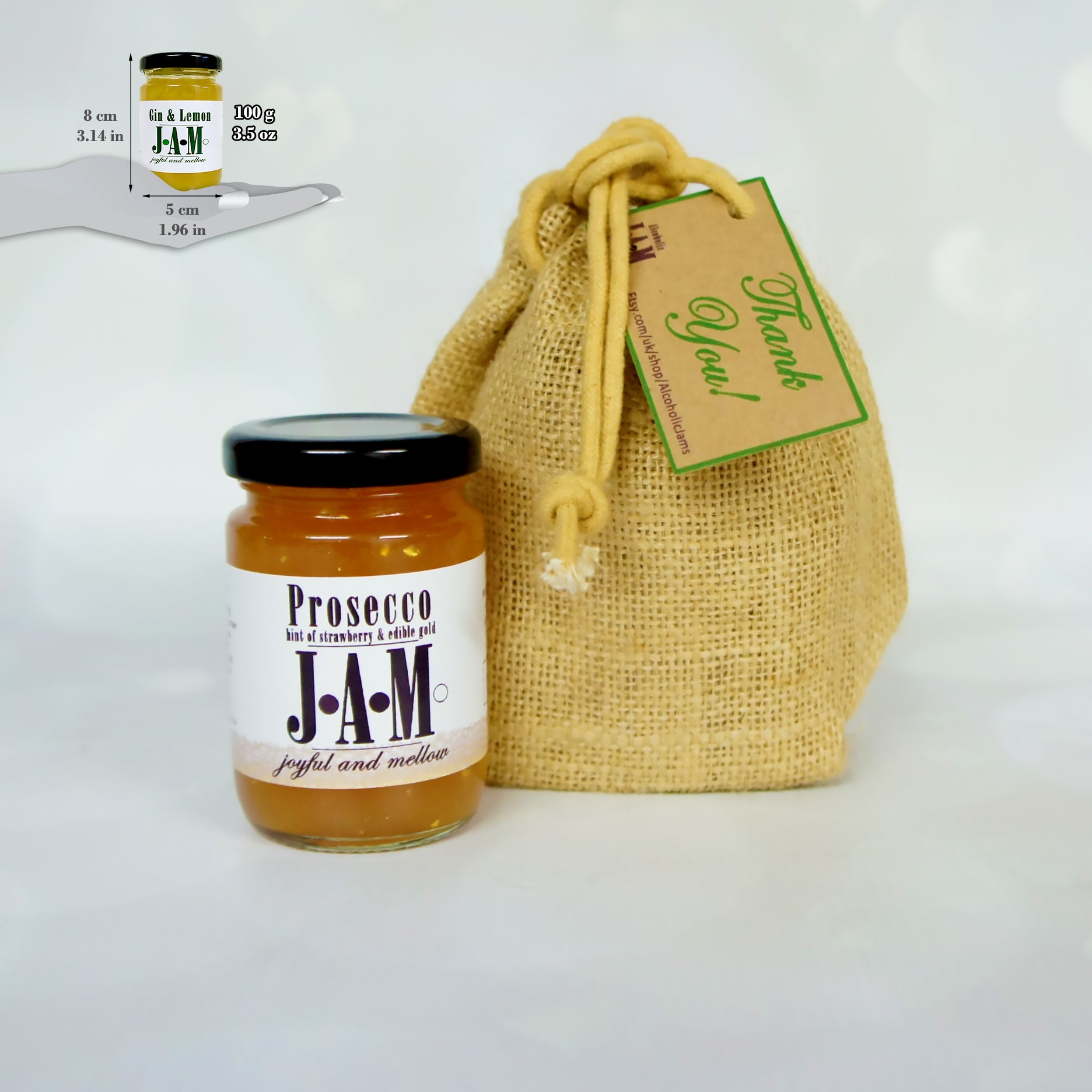 Gift Bag of 1 Alcoholic Jam of your choice: Sloe Gin Jam, Spreadable Gin, Prosecco Jam and More.