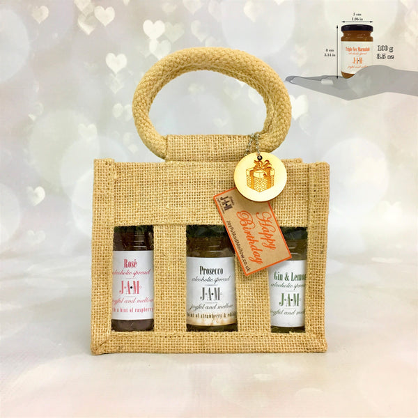 Persolanised gift bag of Prosecco Jam, Gin Jam and other Alcoholic Jams