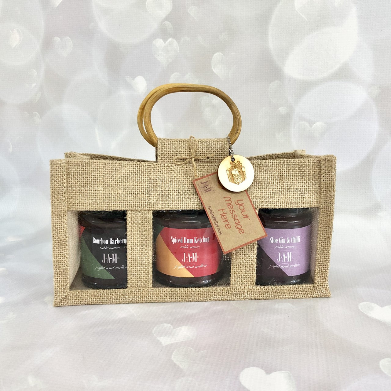 Gift bag of 3 alcoholic sauces, gin and chilli sauce