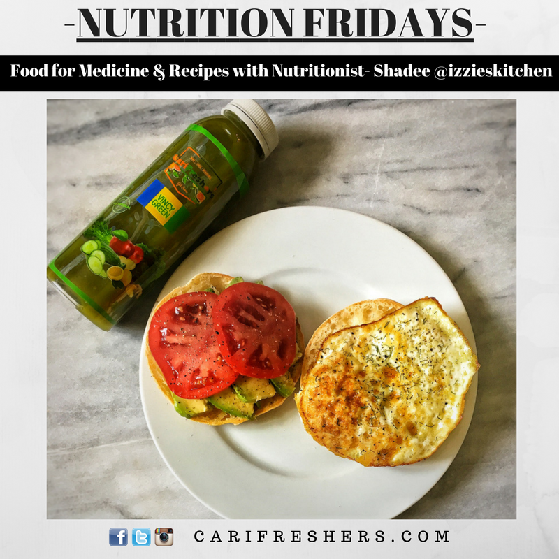 Breakfast on the Go: Egg & Avo Toasted Bagel with a CarReshers Vincy Greens Juice