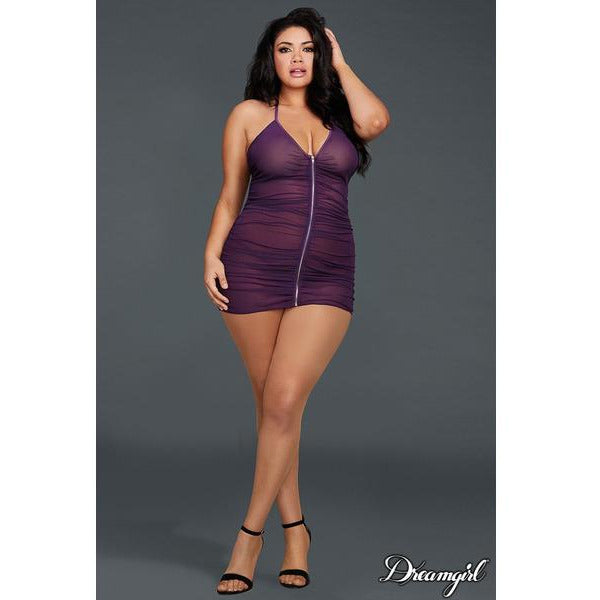 Ruched Plum Chemise