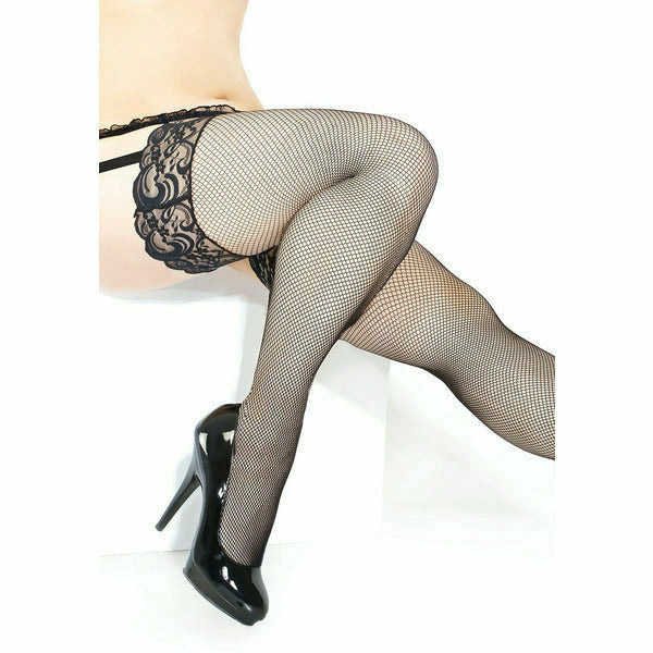 Stay Up Thigh High Fishnet Stocking with Lace Top