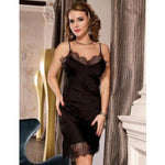 Black Satin Chemise Slip with Lace Trim