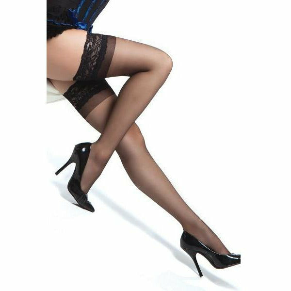 Stay Up Black Stockings with Silicone Grip