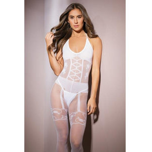 White Faux Garter Bodystocking