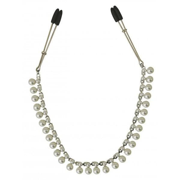 Midnight Pearl Chain Nipple Clips - www.indulgencenaughtyshop.com