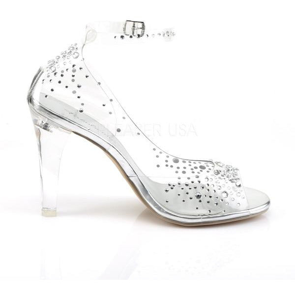 Open Toe Ankle Strap d'Orsay Sandal with Rhinestones
