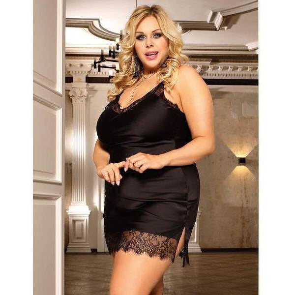 Plus Size Black Satin Chemise Slip with Lace Trim