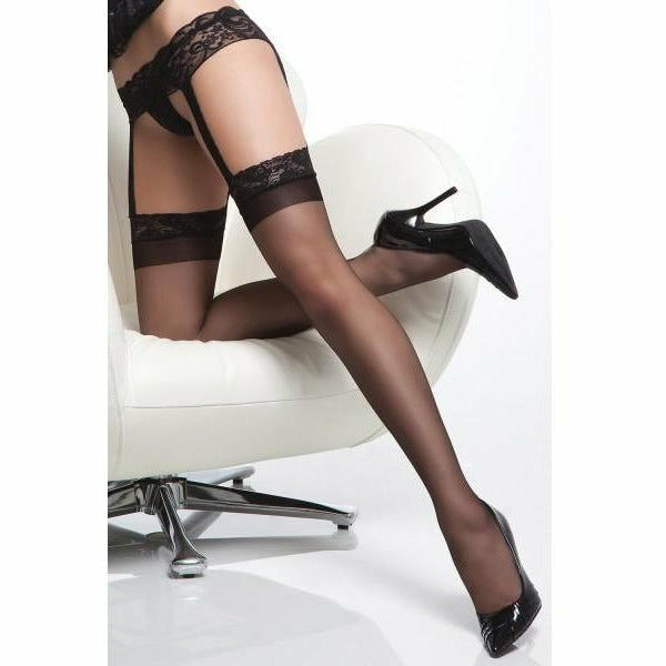Sheer Thigh High Stockings with Attached Lace Garter