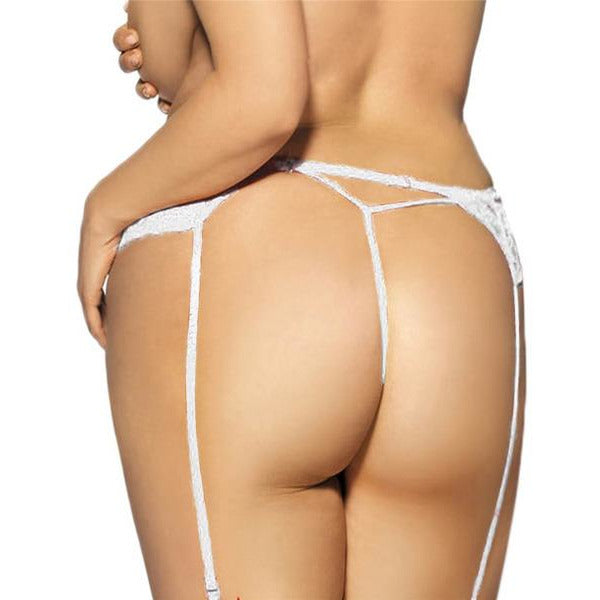 White Lace Garter Belt with Thong Panty