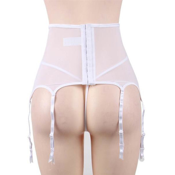 White Lace & Sheer High Waist Garter