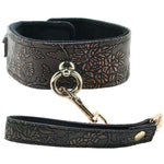 Lockable Lined Collar and Leash in Metallic Floral