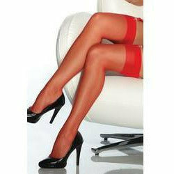 TRADITIONAL RED SHEER THIGH HIGH STOCKING