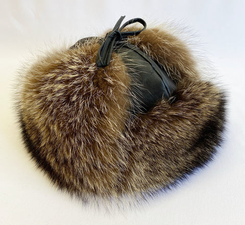 Raccoon Classy Leather-top Yukon Hat