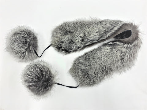 Silver Fox Scarf with Pompoms