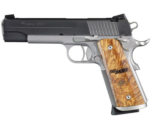 "Sig Sauer 1911 STX, 5.00"" Barrel, Two-Tone, Maple Grips, 45 ACP"