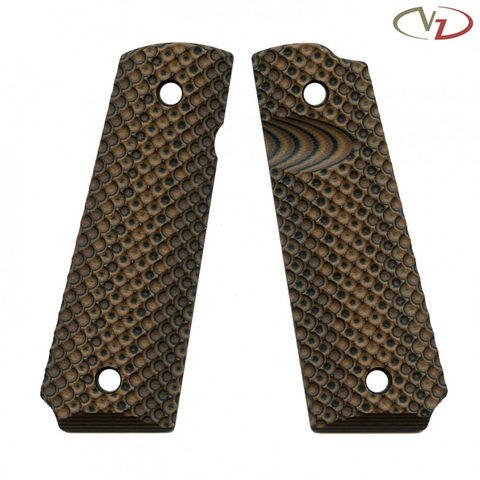 VZ Grips 1911 VZ Recon, Hyena Brown, Full Size, Magwell Profile, Thumb Notch, Ambi Safety
