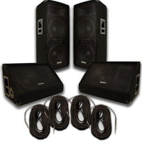 "Pair of Dual 12"" PA Speakers, 12"" Floor Monitors, and 4 50' Cables"