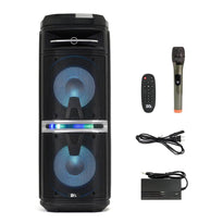 SA-KP210 - Powered Portable Dual 10 Inch Party & Karaoke Speaker - LED Bluetooth, Wireless Microphone and Remote