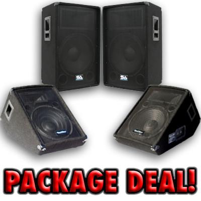 "Pair of 15"" PA Speakers and 12"" wedge Floor Monitors"