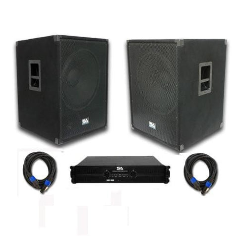 "Pair of 18"" PA Bass Sub woofer Cabinets, Power Amplifier, and Cables"