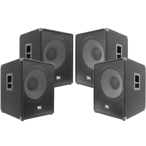 Enforcer Package - Set of 4 Powered 18 Inch Pro Audio Subwoofer Cabinets - PA/DJ