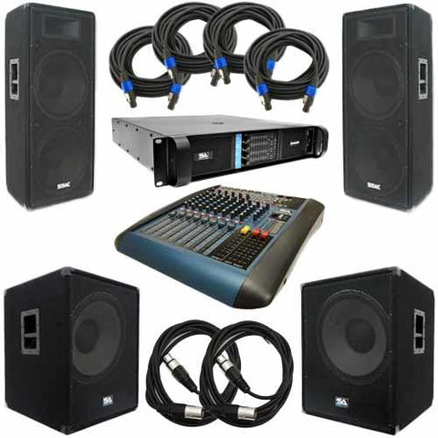 "PA Package - Dual 15"" PA Speakers, 18"" Subwoofers, Power Amplifier, 10 Channel Mixer, & Cables"
