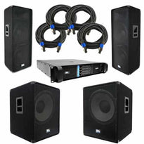 "PA Package - Dual 15"" PA Speakers, 18"" Subwoofers, Power Amplifier, & Cables"