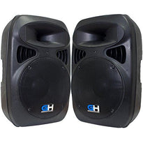 "Grindhouse Speakers - GH-P12 - Pair of Active 12"" PA DJ Speaker Cabinets - Powered 500 Watt Loudspeakers for PA, DJ, Karaoke, club"